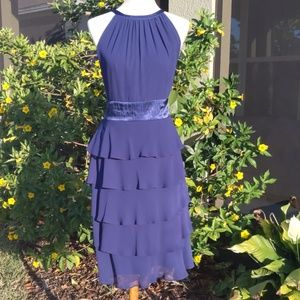 Evan Picone High Neck Tiered Navy Blue Dress